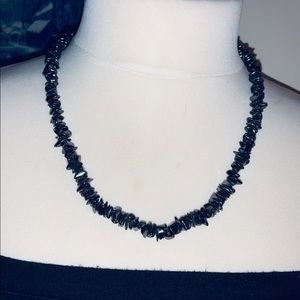 Vintage Hematite Chipped Necklace